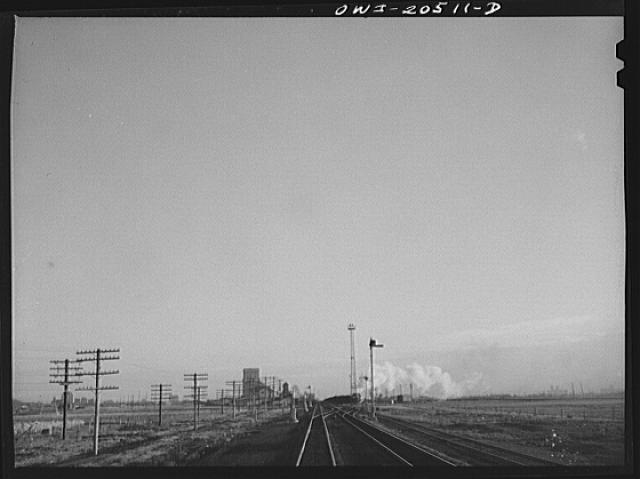 Amarillo, Texas. Pulling out of the Amarillo yard on the Atchison, Topeka and Santa Fe Railroad