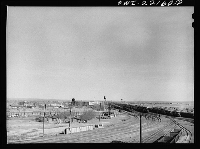 General view of a Atchison, Topeka, and Santa Fe Railroad yard