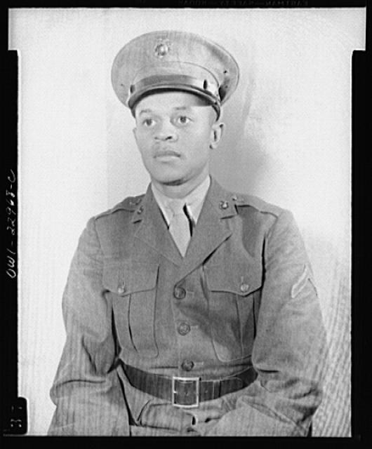 Howard P. Perry, the first Negro to enlist in the Marine Corps. Camp Lejeune, North Carolina
