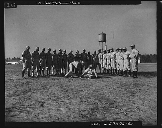 Camp Lejeune, New River, North Carolina. Negro enlistees of the Marine Corps and white non-com officers are teammates on the baseball team at Camp Lejeune. Lejeune has its own baseball league, with the Montford Point team a strong contender for championship honors