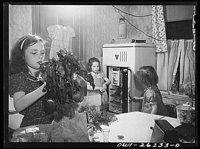 Buffalo, New York. Beverly Ann Grimm. eleven, with the help of Mary, eight, and Patsy, six, her sisters putting the food away which has just been purchased from a list left that morning by her twenty-six year old widowed mother who is a crane operator at Pratt and Letchworth