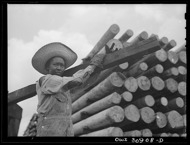 Beaumont, Texas. Woman worker at the International Creosoting plant. This work was formerly done by men