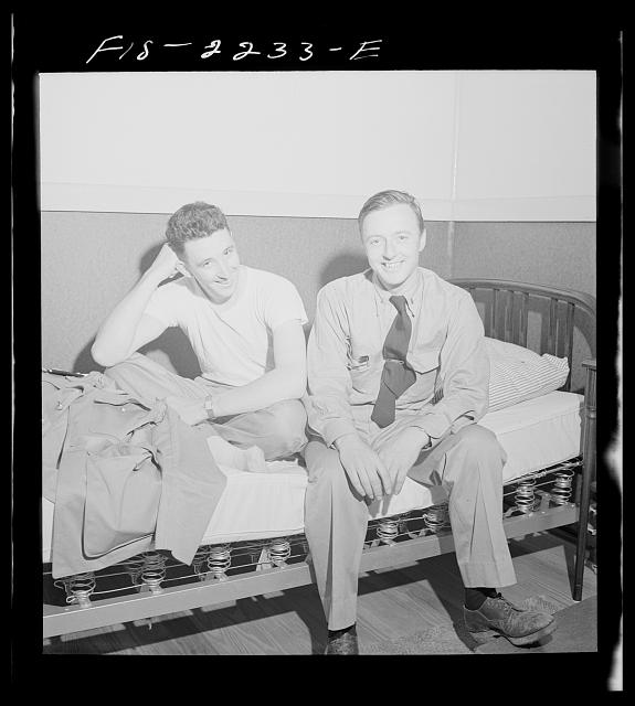 Parris Island, South Carolina. Instructors at leisure after a full day at the U.S. Marine Corps glider detachment training camp