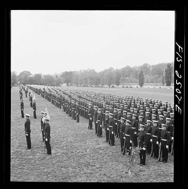 Annapolis, Maryland. Corps of midshipmen, U.S. Naval Academy, in formation