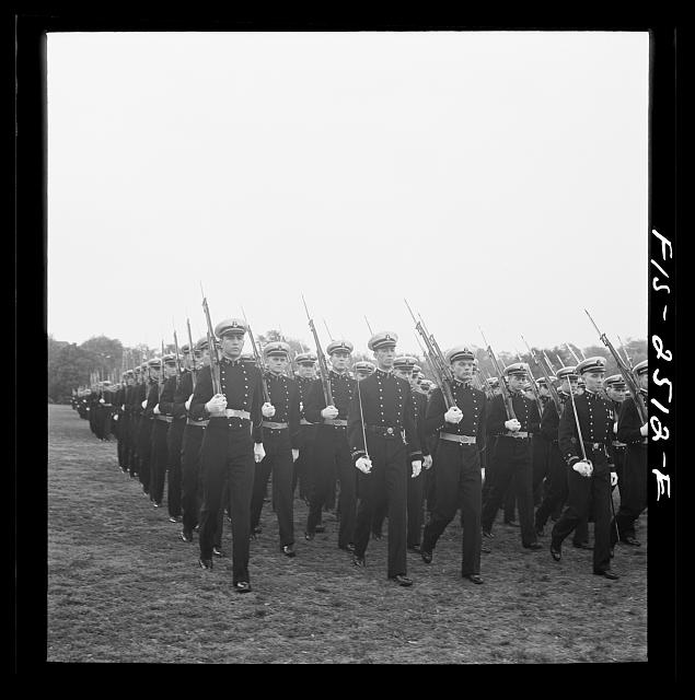Annapolis, Maryland. Midshipmen of the U.S. Naval Academy passing review during the visit of President of Peru, Manuel Prado
