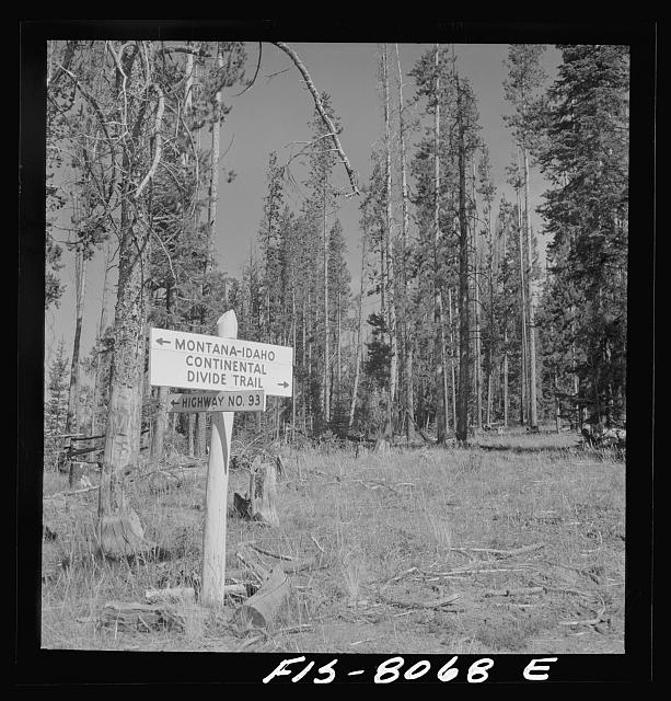 Sign on the continental divide, which is also the boundary between Idaho and Montana