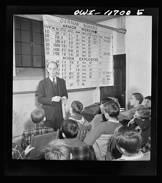 Lititz, Pennsylvania. Raymond Runk, accountant at the Animal Trap Company and fire captain, giving a lecture on German bombs to Boy Scouts who are learning to be messengers. In emergencies, their duty would be to report fire bombs to the proper people