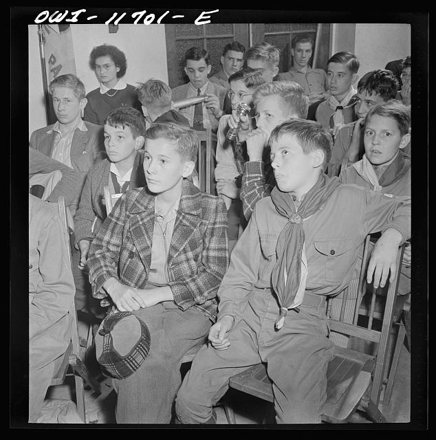 Lititz, Pennsylvania. Boy Scouts listening to lecture on German bombs during their training as messengers