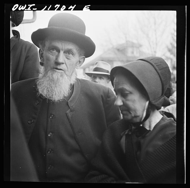 Lititz, Pennsylvania. A Mennonite and his wife at a public sale