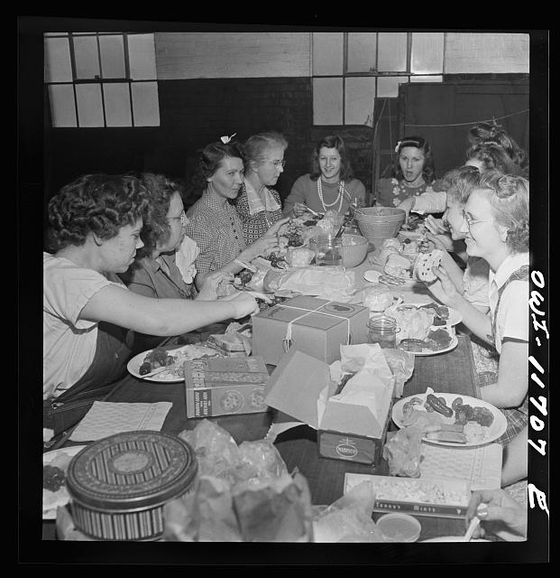 Lititz, Pennsylvania. Girls working at the Animal Trap Company treating themselves to a special lunch to celebrate the departure of one of them to work in a Lancaster department store