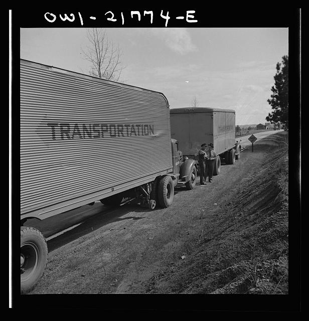 Joe Crow and Jim Bishop, truck drivers, stopped to talk along U.S. Highway 29 in Georgia