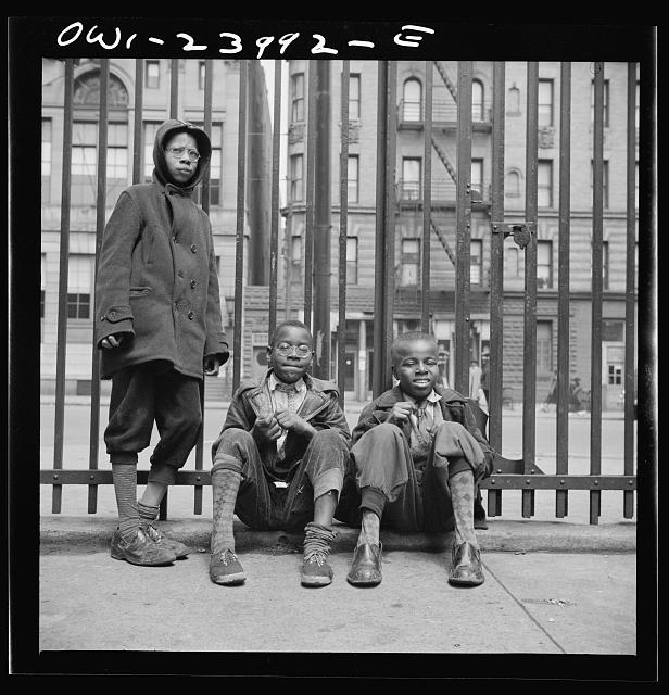 New York, New York. Three boys who live in the Harlem area
