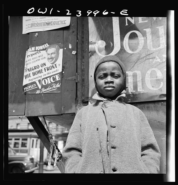 New York, New York. A Harlem newsboy