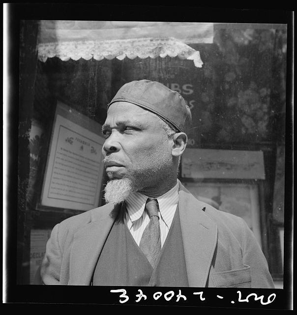 "New York, New York. A follower of the late Marcus Garvey who started the ""Back to Africa"" movement"