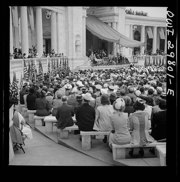 Arlington Cemetery, Arlington, Virginia. Spectators at the Memorial Day services in the amphitheater