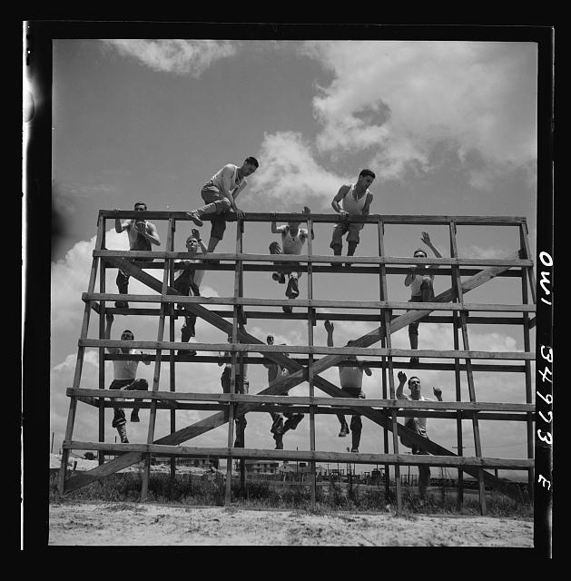 Daniel Field, Georgia. Air Service Command. Enlisted men going through the obstacle course