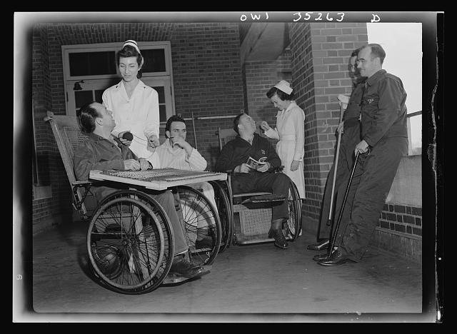Walter Reed Hospital, Washington, D.C. Convalescent soldiers on a porch