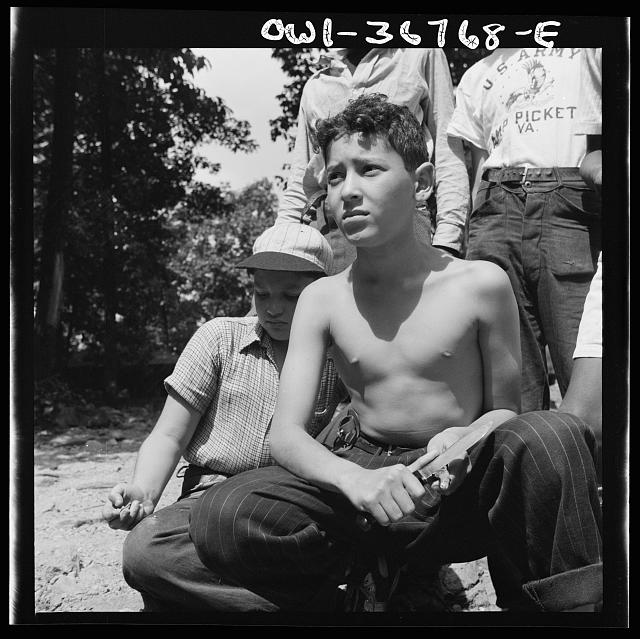 "Southfields, New York. Interracial activities at camp Nathan Hale, where children are aided by the Methodist Camp Service. ""Aw nuts"""