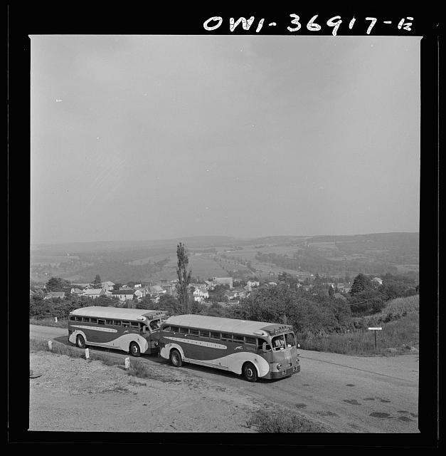 Two Greyhound buses on the way to Pittsburgh, Pennsylvania, from Washington, D.C.