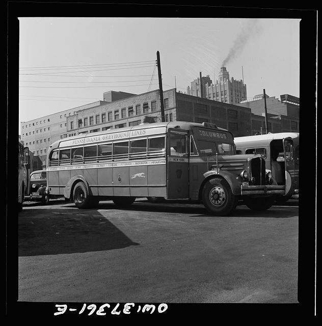 Columbus, Ohio. An old model bus, which would ordinarily have been scrapped but which are now rebuilt and used because of the shortage of buses, parked in Columbus
