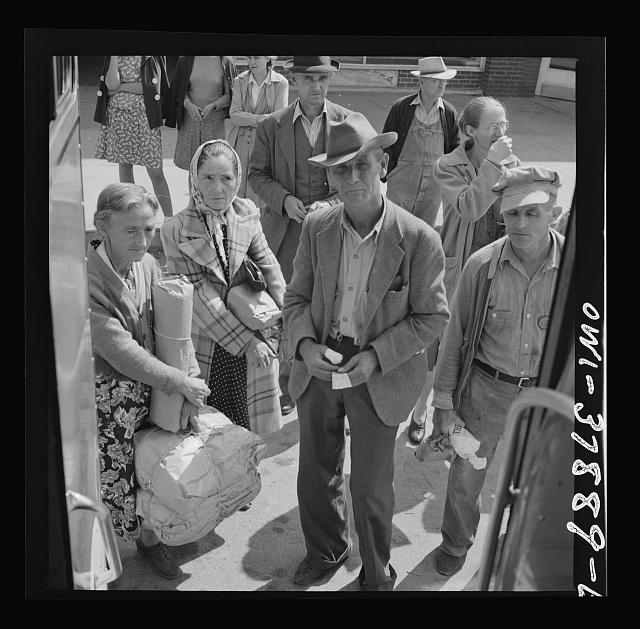 A Greyhound bus trip from Louisville, Kentucky, to Memphis, Tennessee, and the terminals. Passengers waiting to get on the Greyhound bus at Rome, Georgia. Most of them only travel a short distance, having come in from nearby farms to shop, etc.