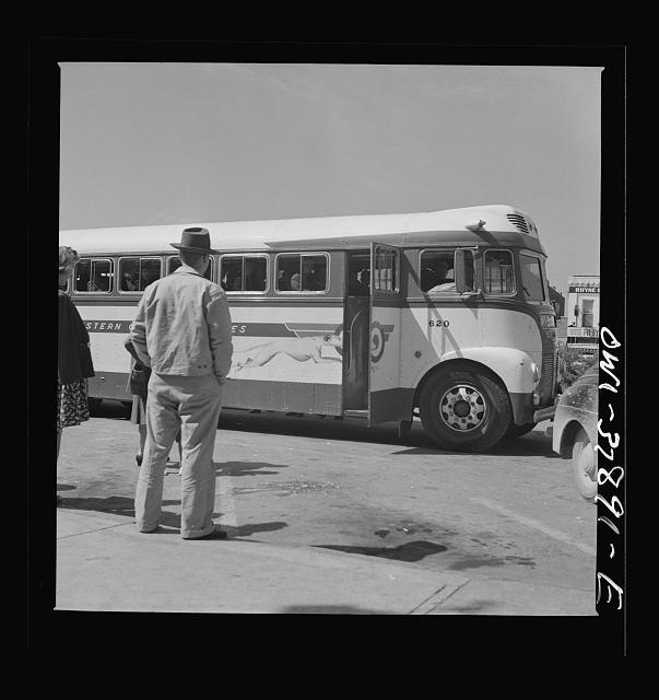 A Greyhound bus trip from Louisville, Kentucky, to Memphis, Tennessee, and the terminals. Passenger on Greyhound bus. She is moving from Ohio to California and chose the bus so she could see more scenery, but is disappointed in the hills of Tennessee