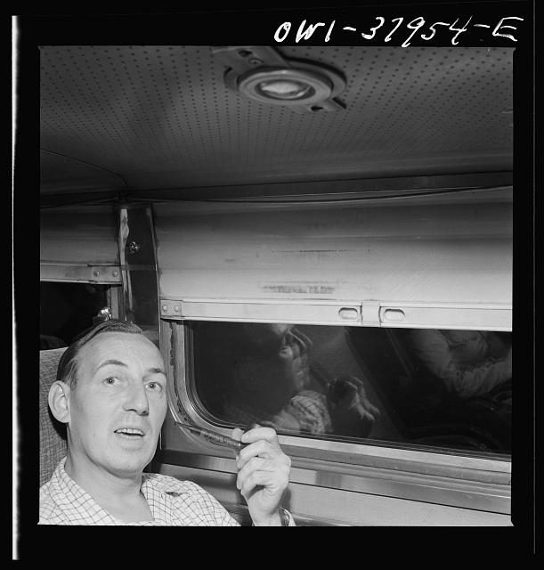 A Greyhound bus trip from Louisville, Kentucky, to Memphis, Tennessee, and the terminals. A travelling salesman. He now uses the bus instead of an automobile. En route Memphis to Chattanooga by Greyhound