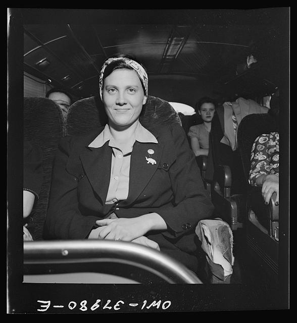A Greyhound bus trip from Louisville, Kentucky, to Memphis, Tennessee, and the terminals. Girl returning to her home in Tennessee from Detroit where she went to look for a defense job. She was told she must have a release and came back. On bus from Louisville to Nashville