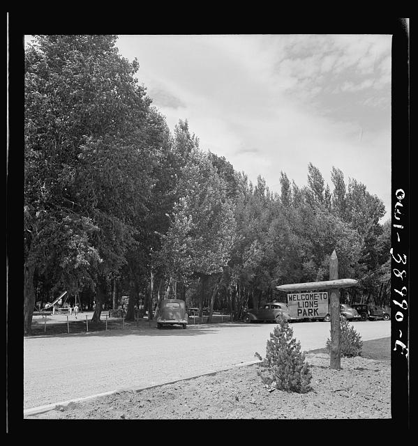 Miscellaneous lot of photographs by Barbara Wright. National Youth Administration (NYA), Works Progress Administration (WPA) and Civilian Conservation Corps (CCC). Sign and picnic tables. NYA park near Cheyenne, Wyoming
