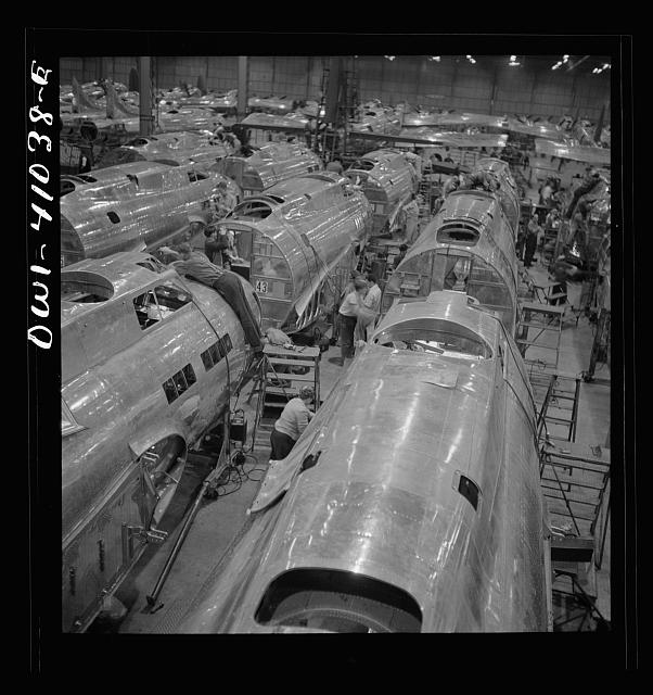 Boeing aircraft plant, Seattle, Washington. Production of B-17 F (Flying Fortress) bombing planes. Fuselage sections