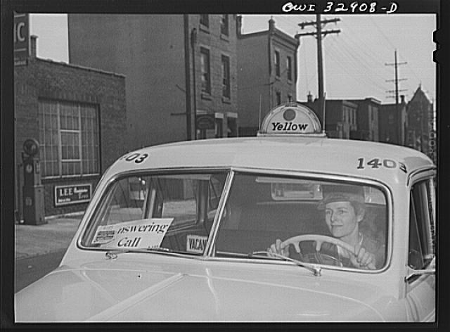 Philadelphia, Pennsylvania. Mrs. Suzanne O'Donnell, of Houston, Texas, is a driver for the Yellow Cab Company. Her husband is in the U.S. Army