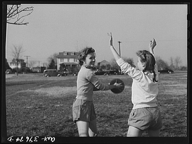Washington, D.C. Sally Dessez, a student at Woodrow Wilson High School, in a speedball game