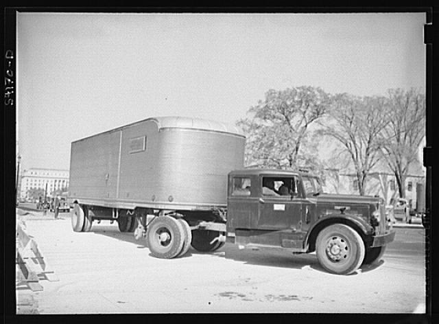 Washington, D.C. An autocar long distance hauling van parked near the Social Security building