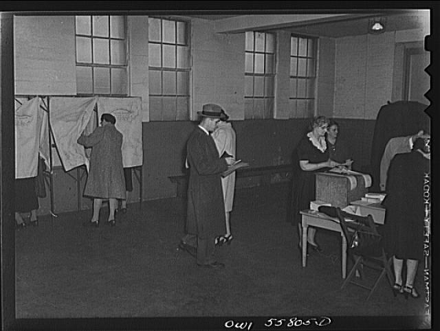 "Arlington, Virginia. Voters entering ""Douglas collapsible"" booths at Wilson High School to cast their ballots in the national presidental election"