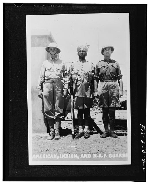 American, Indian and Royal Air Force guards somewhere in India