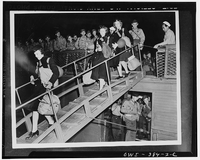 U.S. Army nurses on the gangplank of a troop ship