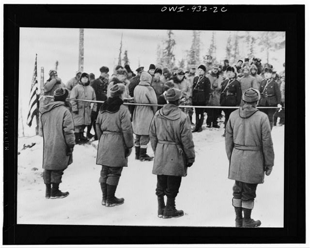 Opening ceremonies of the Alcan Highway at Soldiers' Summit, a stretch of highway 1500 feet above the wide swath of Kluane Lake, which is approximately 100 miles east of the Alaska-Yukon international boundary