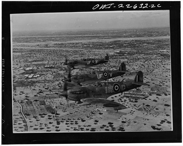 Operations in North Africa by Allied air forces. A formation of Spitfires on interception patrol over De Djerba Island, off Gabes, on their way to the Mareth Line area