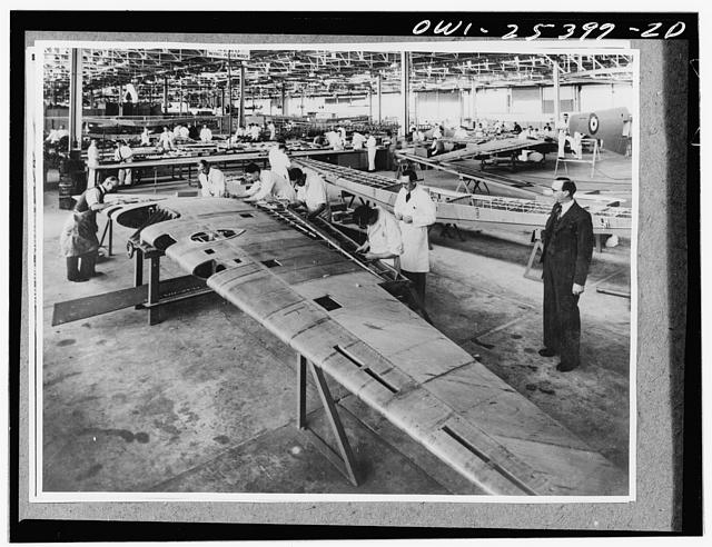 Part of an aircraft factory for the manufacture of aircraft parts on Australia. This section is engaged in manufacturing wings made from Canadian aluminum rolled in the United States and supplied to Australia under lend-lease