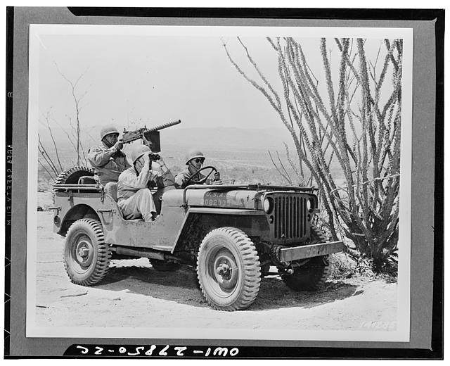 Indio, California. Jeep and crew on a reconnaisance patrol in the desert of the desert training center