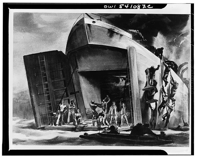 "Inferno. Sicilian invasion. An enemy bomber scored a direct hit on this LST setting her aflame when she was about fifty yards from shore and had just jockeyed into position to discharge her cargo. The deck above is loaded with trucks, other vehicles and men who clamber down ropes to escape the flames. Troops stranded in the belly of the craft wait to be taken off the ramp by  amphibious ""ducks,"" the seagoing invasion trucks"