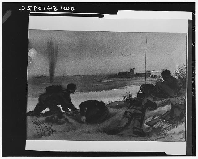 Digging in. Sicilian invasion. A shore party digs in on the beach and its radio operator sets up this portable equipment to make and maintain contact with ships off shore. In the distance an LCI lands troops under fire from hidden enemy pillboxes