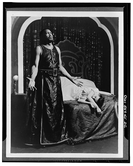 "Scene from ""Othello"" with Paul Robeson and Margaret Webster [i.e. Uta Hagen as Desdemona]. Theatre Guild production 1943-44"