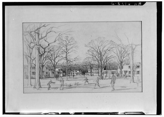 Artist's sketch of housing. Greenbelt project, Maryland