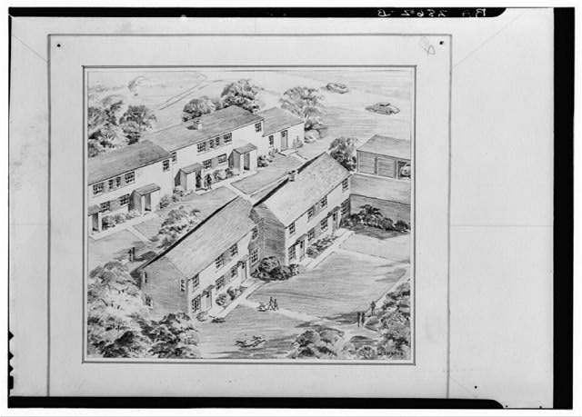 Drawing of duplex houses. Greenbelt project, Maryland
