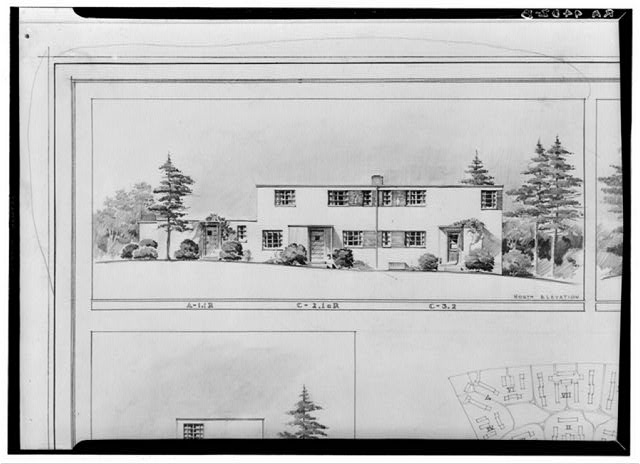 Drawing of model duplex house. Greenbelt, Maryland