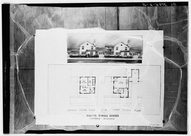 Drawing and plans of typical single houses. Greendale, Wisconsin