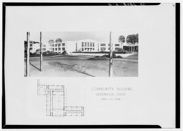 Plan and drawing of community building. Greenhills, Ohio