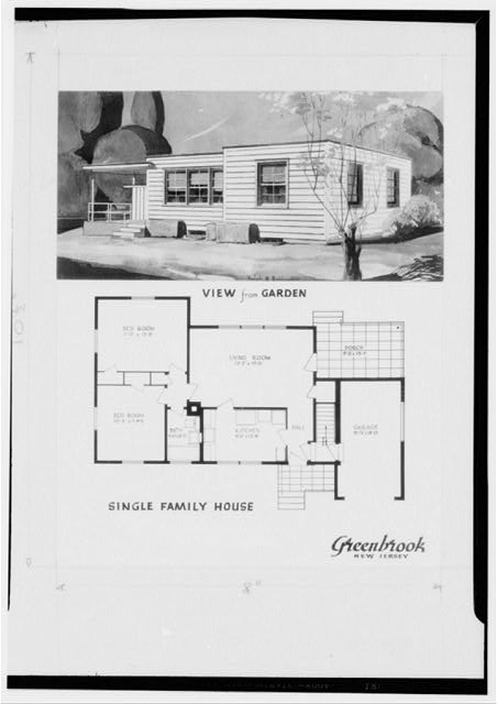 Painting and plan of single family house. Green Brook, New Jersey