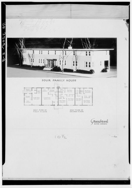 Model and plan of four-family house. Green Brook, New Jersey